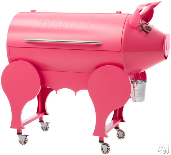 Traeger Lil' Pig BBQPIG01 50 Inch Freestanding Wood Pellet Grill with 425 sq. in. Grilling Area, 36,000 BTUs, Caster Legs, Meat Probes, One-Button Ignition, Convection Fan, Variable Auger, Automatic Shut Down Cycle and Optional Hardwood Pellets