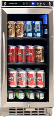 Avanti BCA1501SS 15 Inch Built in Beverage Center with 2 Adjustable Glass Shelves Digital Control Panel LED Interior Lighting Security Lock and ADA Compliant