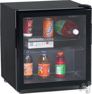 Avanti BCA196BG 19 cu ft Compact Beverage Center with 2 Black Full Width Wire Shelves Mechanical Dial Temperature Control Double Paned Glass Door and Reversible Door Swing