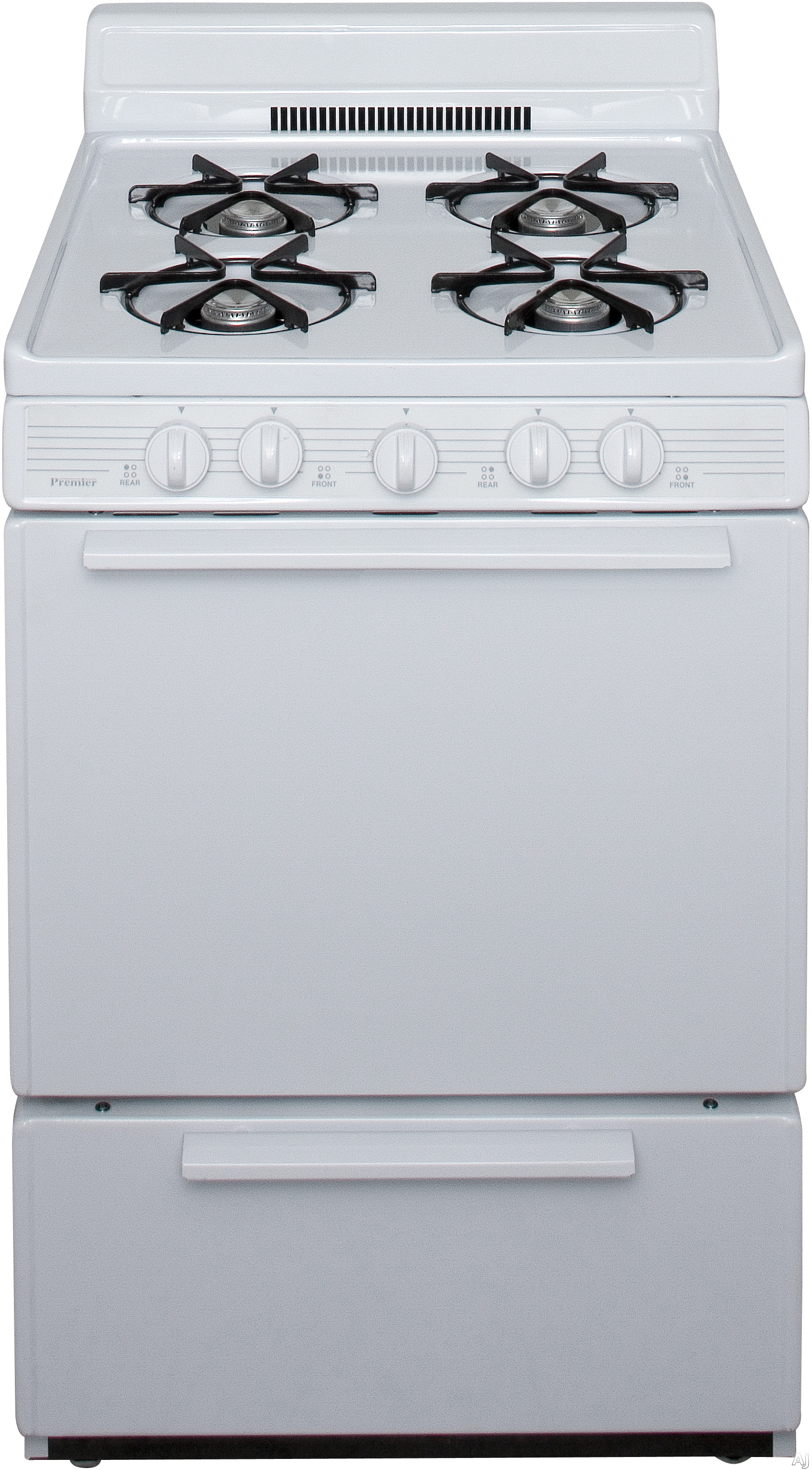 Premier BCK100OP 24 Inch Freestanding Gas Range with 4 Open Burners Battery Spark Ignition 17 000 BTU Burner and 4 Inch Porcelain Backguard White
