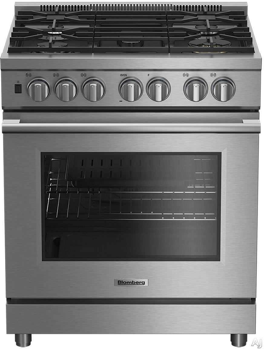 Blomberg BDFP34550SS 30 Inch Pro Style Dual Fuel Range with 5 Sealed Burners Total, 2 20,000 BTU Wok Burners, Simmer Burner, Continuous Grates, Convection Oven, Dual Oven Lighting, Sabbath Mode and Self-Cleaning Mode