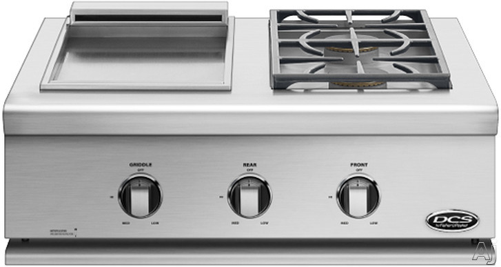 DCS Liberty Collection BFGC30BGDL 30 Inch Built-in Gas Dual Side Burner and Griddle with 2 Sealed Burners, 17,000 Burner BTU, 12,000 Griddle BTU, 304 Series Stainless Steel and Grill Cover Included: L