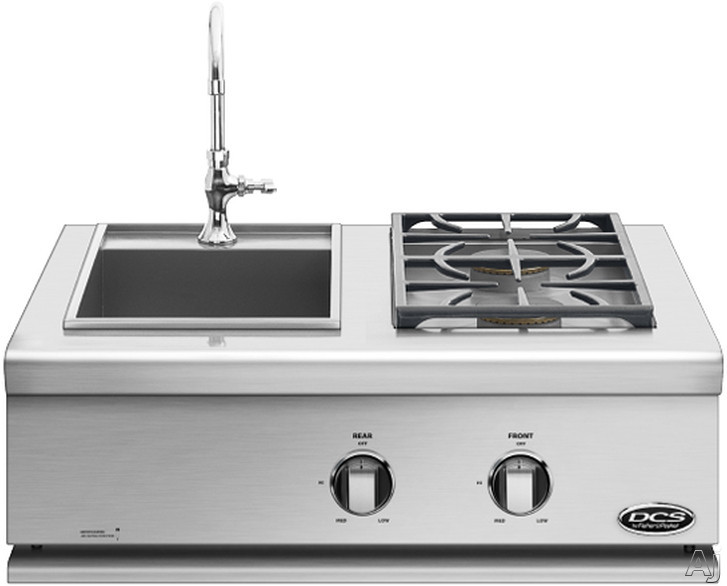 DCS Liberty Collection BFGC30BS Dual Side Burner with 2 17,000 BTU Sealed Burners, Built-in Stainless Steel Sink, Simple Knob Control and 304 Series Stainless Steel Construction