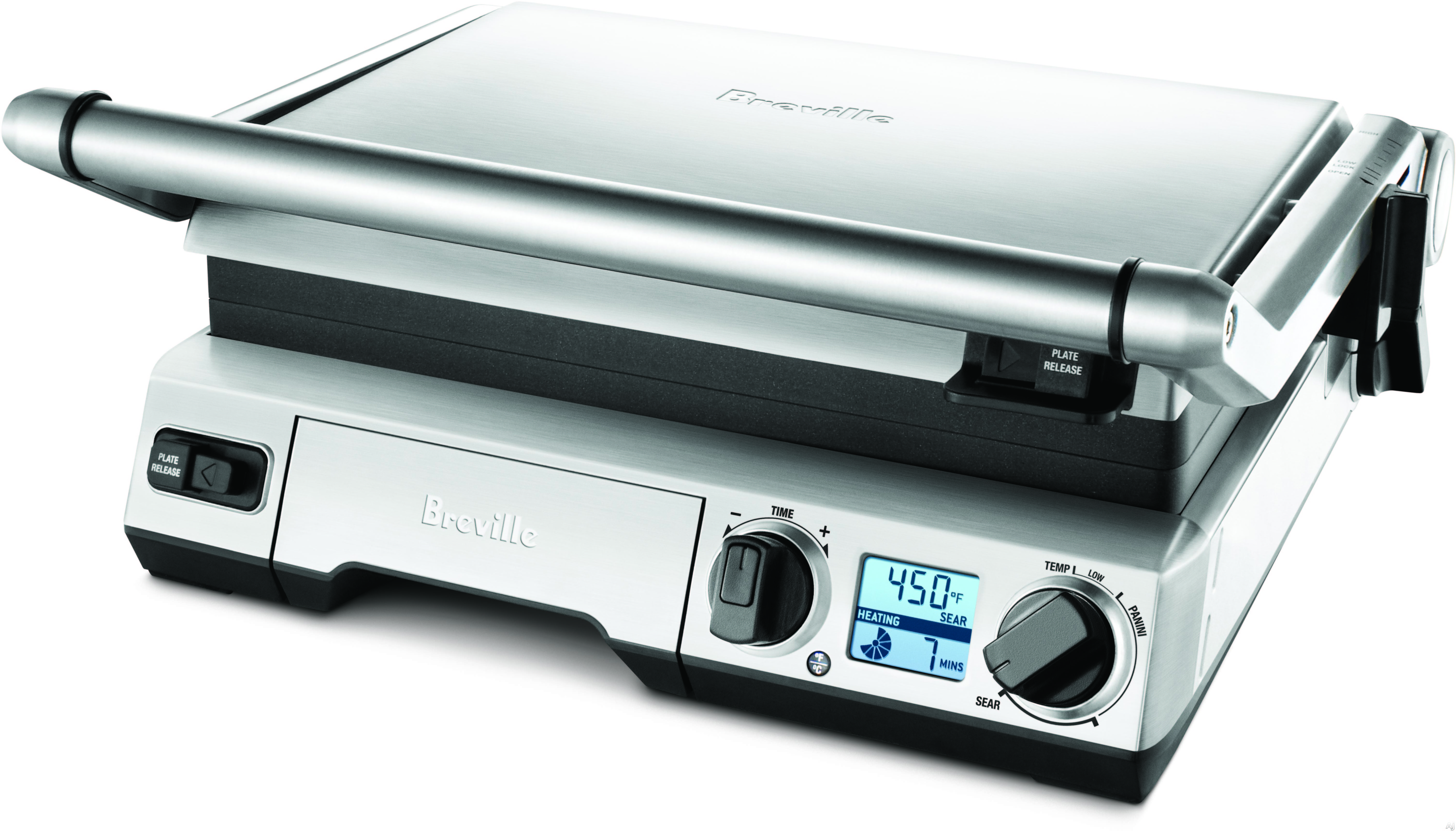 """Image of Breville BGR820XL Electronic Smart Grillâ""""¢ with Element IQâ""""¢, Adjustable Height Control, Adjustable Plate Tilt, Non-Stick Plates, Auto-Off, LCD Display, Removable Dishwasher Safe Plates and 1800W Power"""