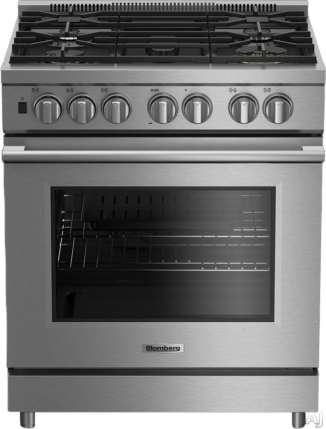 Blomberg BGRP34520SS 30 Inch Pro Gas Range with 5 Sealed Burners 57 cu ft European Convection Oven 19 000 BTU 675 BTU Burner 3 Chrome Racks Knob Lighting Wok Griddle Accessories Sabbath Mode and Self Cleaning Mode