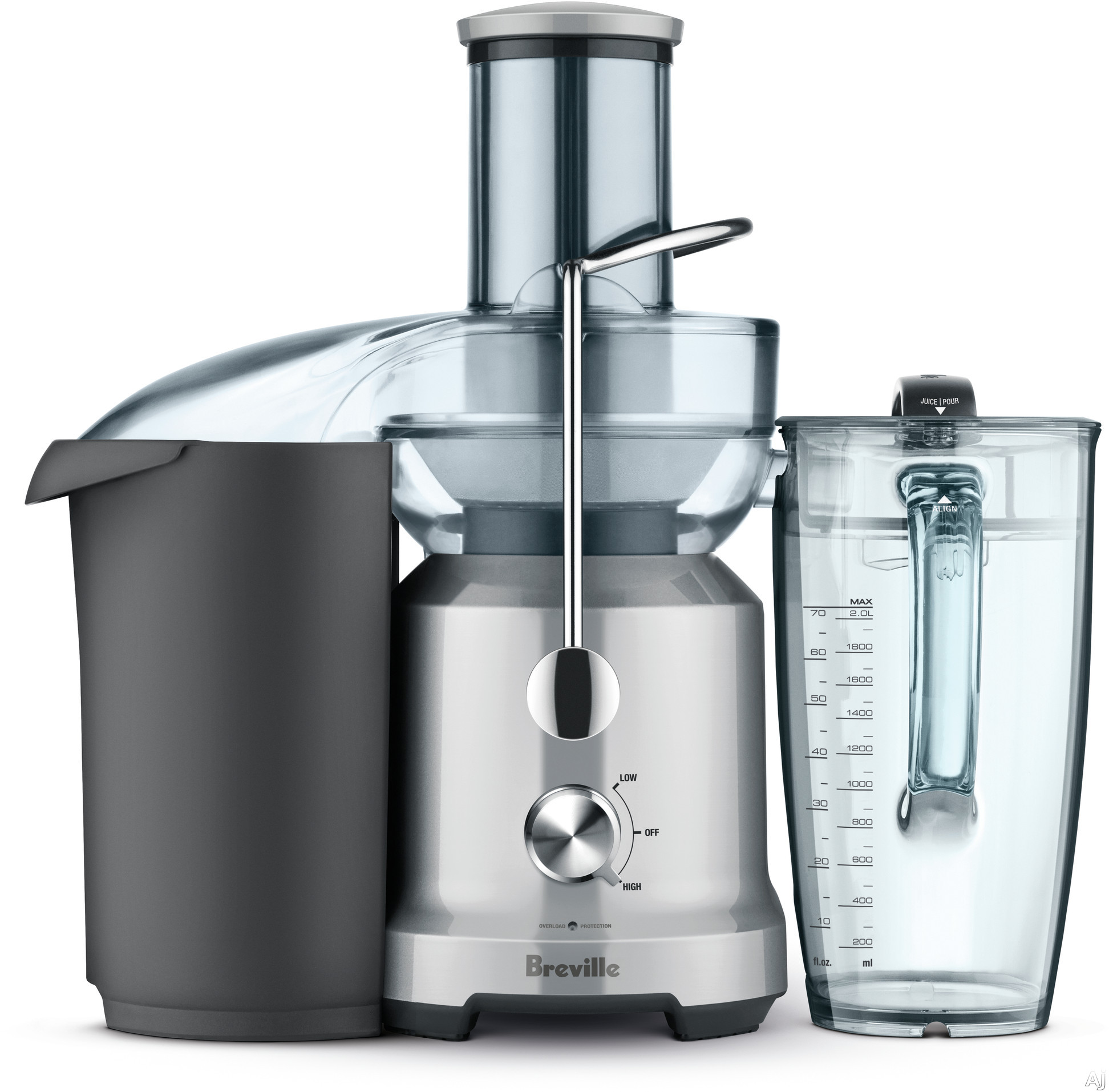 Breville BJE430SIL Juice Fountain® Cold with Cold Spin Technology, Elevated Juicing System, Extra Wide Feed Chute, Dual Speed Control, Safety Locking Arm and Large Capacity