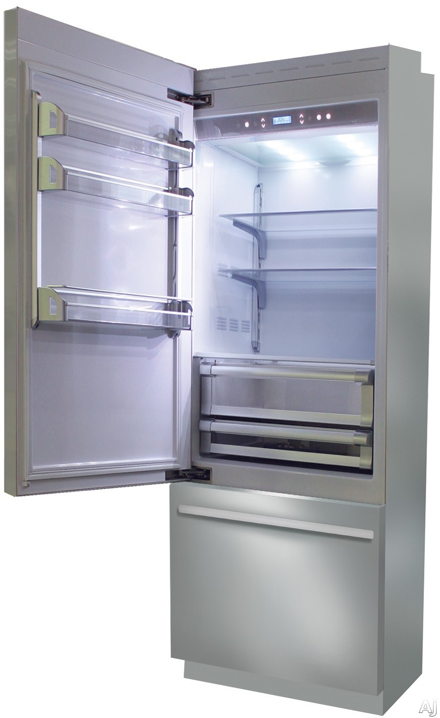 Fhiaba Brilliance Series BKI30BILS 30 Inch Built-In Bottom Freezer Refrigerator with TriMode Drawer, Frost-Free Operation, Soft Closing System, LED Lighting, Bottle Cooler and Ice Maker: Left Hinge