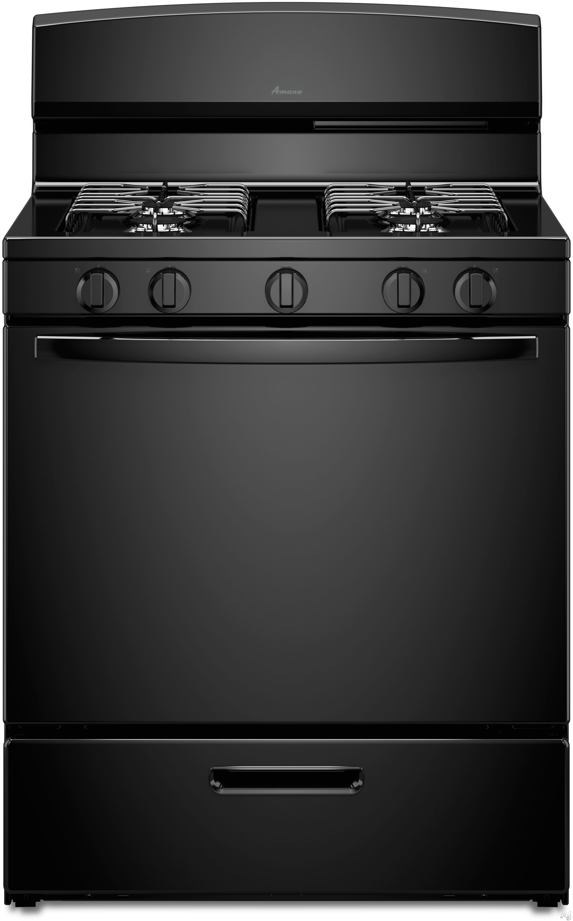 Amana AGR4230BA 30 Inch Freestanding Gas Range with 5.1 cu. ft. Capacity, 4 Sealed Burners, SpillSaver Upswept Cooktop, Broiler Drawer and LP Gas Conversion Kit Included