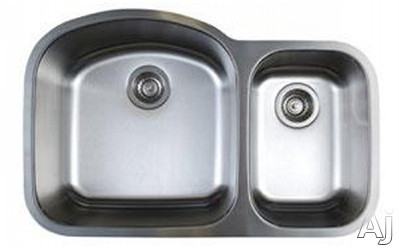 Blanco Stellar 441022 32 Inch Undermount Double Bowl Stainless Steel Sink with 9 Inch Large Bowl Depth, 18-Gauge 304 Stainless Steel, Rear Drain Placement and Refined Brushed Finish: Large Bowl On Lef