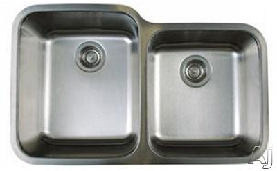Blanco Stellar 441023 32 Inch Undermount Double Bowl Stainless Steel Sink with 9 Inch Large Bowl Depth, 18-Gauge 304 Stainless Steel, Rear Drain Placement and Refined Brushed Finish: Large Bowl On Lef