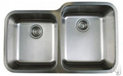 Blanco Stellar 441261 32 Inch Undermount Double Bowl Stainless Steel Sink with 9 Inch Large Bowl Depth, 18-Gauge 304 Stainless Steel, Rear Drain Placement and Refined Brushed Finish: Large Bowl On Rig