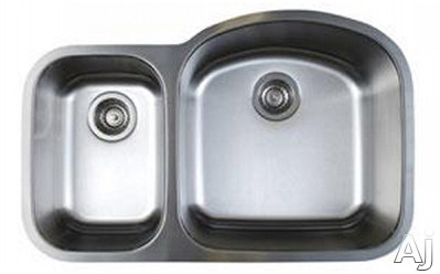 Blanco Stellar 441262 32 Inch Undermount Double Bowl Stainless Steel Sink with 9 Inch Large Bowl Depth, 18-Gauge 304 Stainless Steel, Rear Drain Placement and Refined Brushed Finish: Large Bowl On Rig