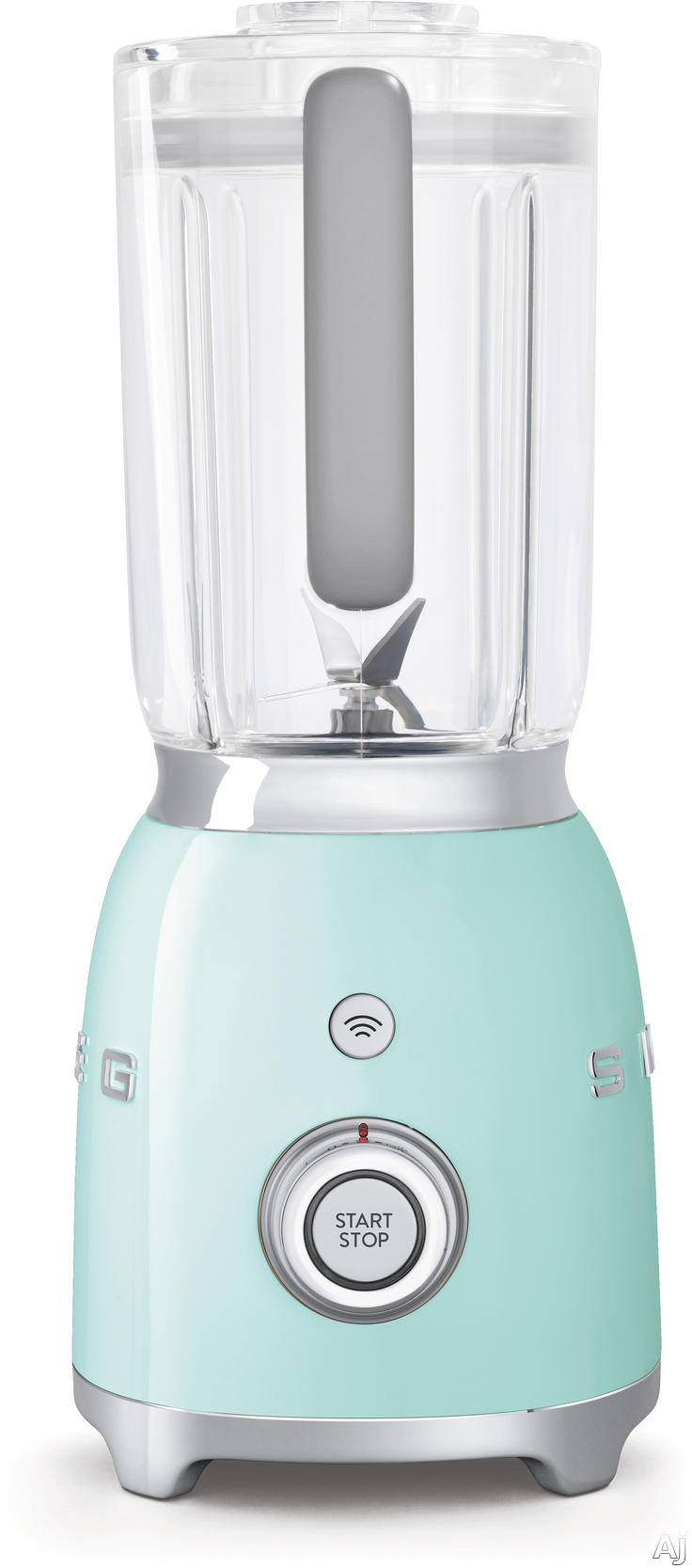 Smeg 50s Retro Design BLF01PGUS Countertop Blender with 48 oz Capacity 4 Speeds Stainless Steel Dual Blades Safety Lock BPA Free Jug and Anti Slip Feet Pastel Green