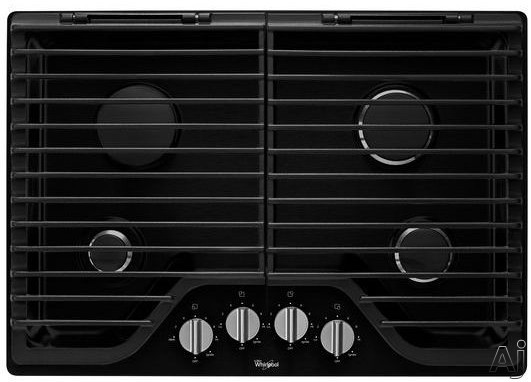 Whirlpool WCG75US0DB 30 Inch Gas Cooktop with Stainless Steel Finish Knobs, FlexHeat Technology, SpillGuard Accents and Two EZ-2-Lift Hinged Cast-Iron Grates: Black