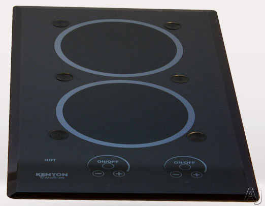 Kenyon Blue Steel Series B40583PUPS 12 Inch Electric Cooktop with 2x1,200 Watt Burners, Electric Ceramic Glass Surface, Pop Up Potholder System, Reflex Blue Enhanced Cooking Zones, Digital Touch Contr