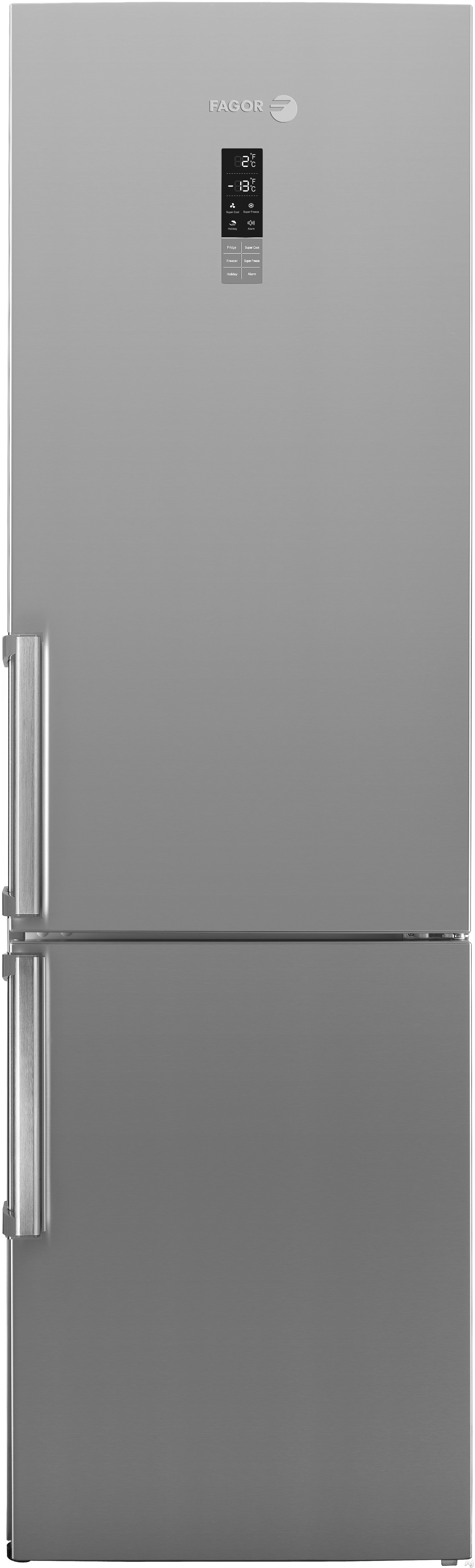 Fagor BMF200X 24 Inch Counter-Depth Bottom-Freezer with 12.7 cu. ft. Capacity, Adjustable Glass Shelves, Multifresh Compartments, Superfreezing, Door Alarm, LCD Touch Screen On Door and Energy Star Rated