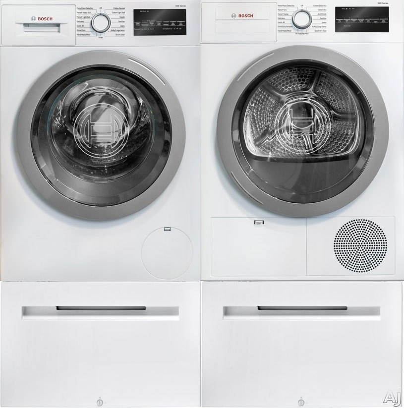 Bosch 500 Series BOWADREUC2 Side-by-Side on Pedestals Washer & Dryer Set with Front Load Washer and Electric Dryer in White