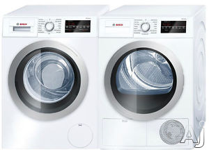 Bosch 500 Series BOWADRE28401 Side-by-Side Washer & Dryer Set with Front Load Washer and Electric Dryer in White