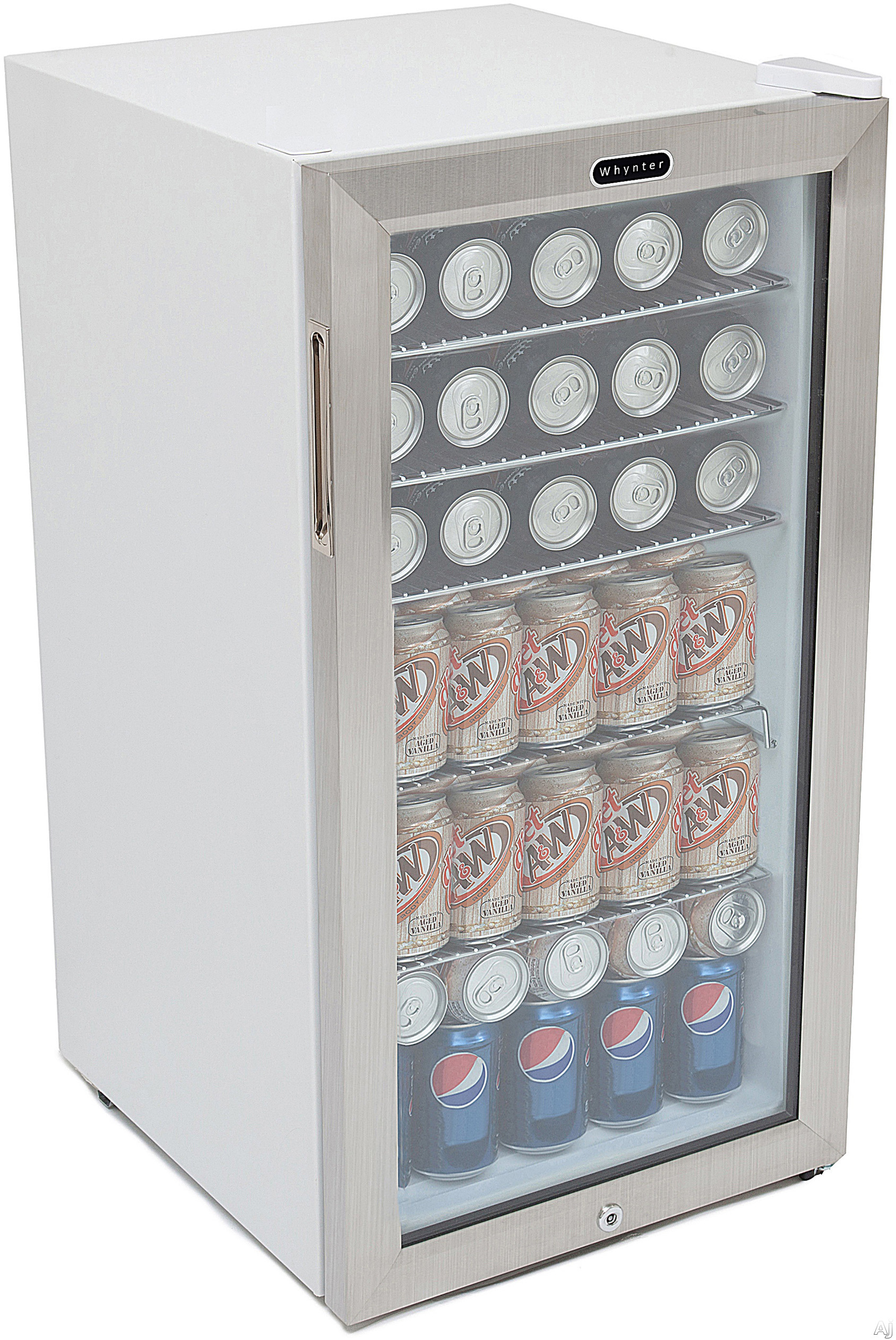 Whynter BR128WS 17 Inch Beverage Refrigerator with 120 Can Capacity, Powerful Compressor Cooling, 5 Side-Out Shelves, Cylinder Lock and Interior LED Light