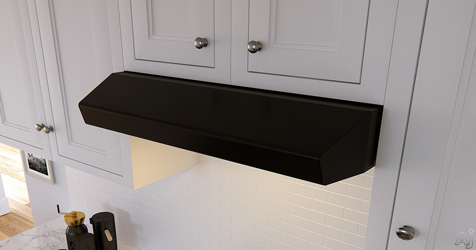 "Zephyr Breeze II Series AK1236BB 36 Inch Under Cabinet Range Hood with BriteStripâ""¢ LED, Auto Delay-Off, 400 CFM, 3 Speeds and Recirculating Option: Black AK1236BB"