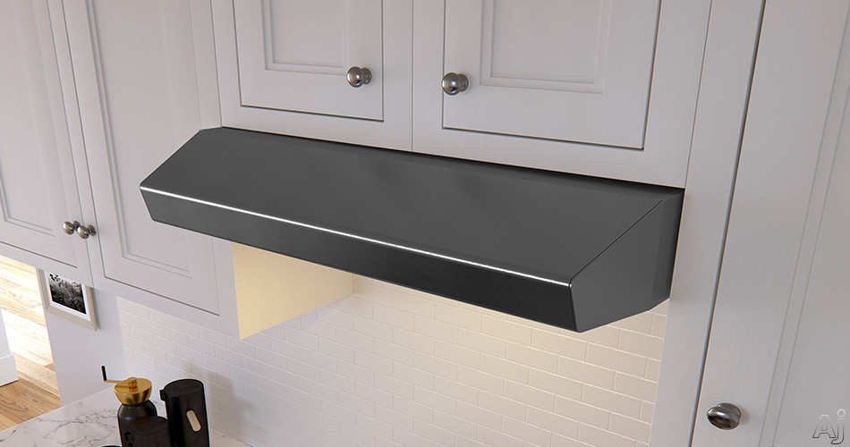 "Zephyr Breeze II Series AK1236BBS 36 Inch Under Cabinet Range Hood with BriteStripâ""¢ LED, Auto Delay-Off, 400 CFM, 3 Speeds and Recirculating Option: Black Stainless Steel AK1236BBS"