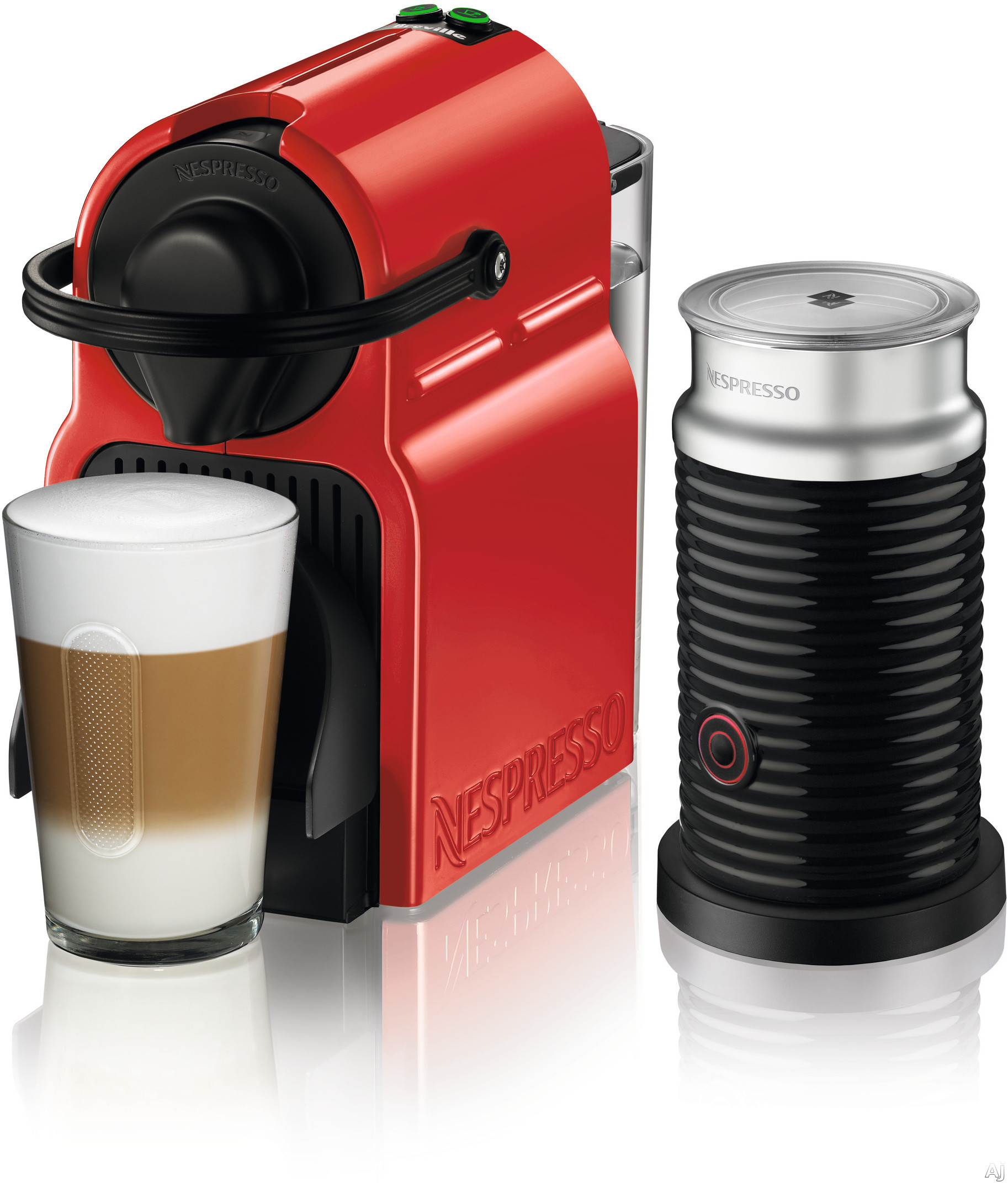 Nespresso Original Line BEC150RED1AUC1 Inissia Espresso Machine and Milk Frother with 2 One Touch Presets, Fast Preheat, Auto Power-off, 16 Nespresso Capsule Tasting Pack, Folding Drip Tray, Auto Volu