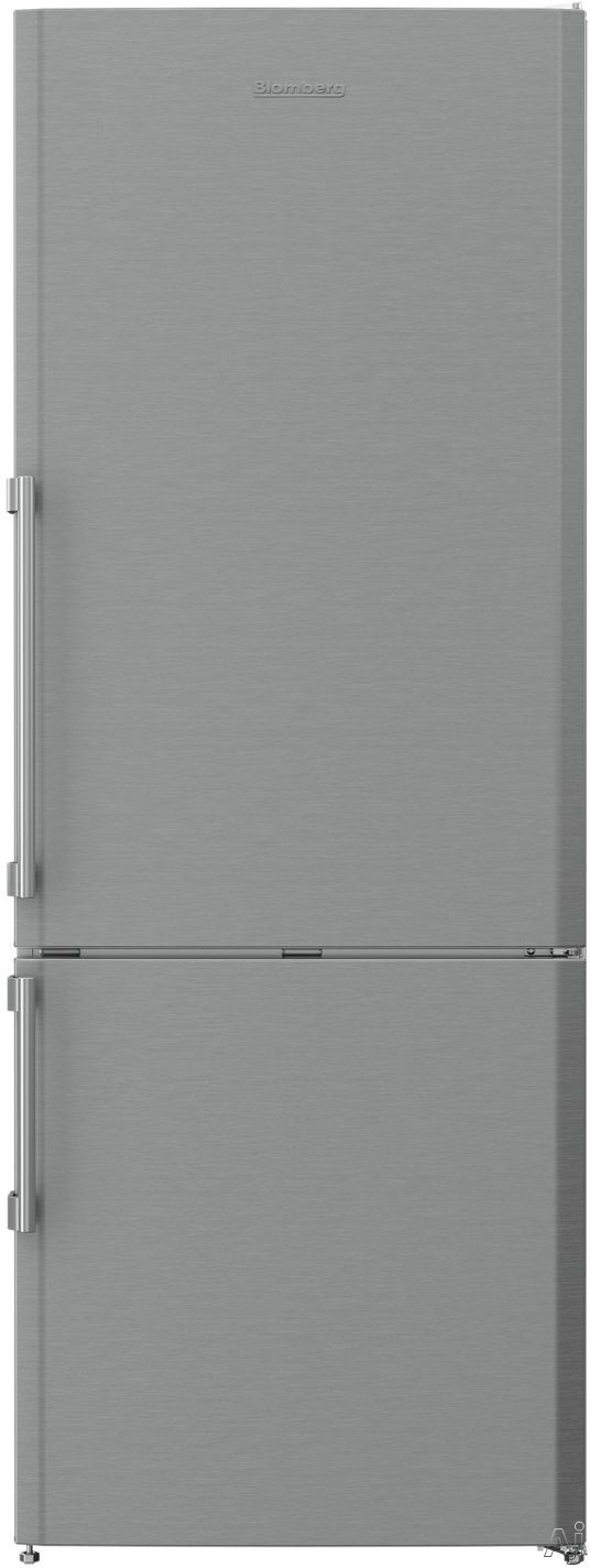 Blomberg BRFB1512SS 28 Inch Counter Depth Bottom-Mount Refrigerator with Antibacterial Interior, Dual Evaporators, ENERGY STAR, Wine Rack, Egg Tray, Transparent Crisper Drawer, 15 cu. ft. Capacity, 3 Glass Shelves, White LED Lighting and Frost Free: No Ic