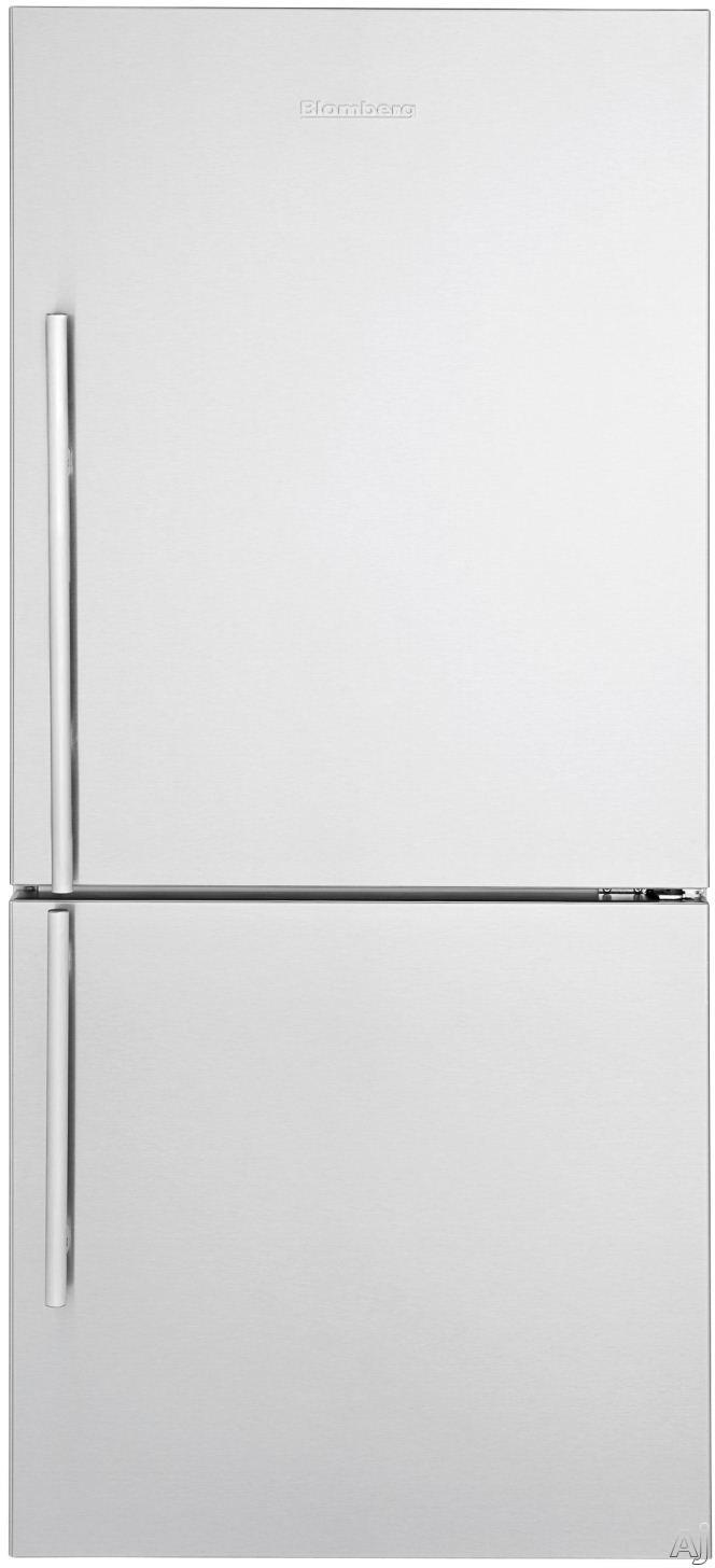 Blomberg BRFB18 30 Inch Bottom-Freezer Refrigerator with Dual Evaporators, Antibacterial Interior, Fast Freeze, Wine Rack, 2 Glass Shelves, Tall Bottle Door Bins, ENERGY STAR and 16.2 cu. ft. Capacity