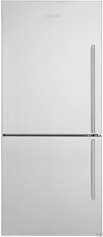 Blomberg BRFB1812SSLN 30 Inch Bottom-Freezer Refrigerator with Dual Evaporators, Antibacterial Interior, Fast Freeze, Wine Rack, 2 Glass Shelves, Tall Bottle Door Bins, ENERGY STAR and 16.2 cu. ft. Capacity: No Ice Maker, Left Hand Door Swing