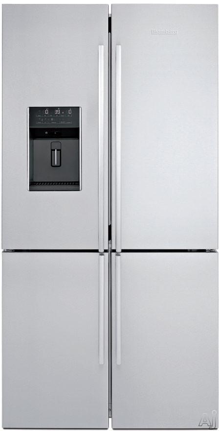 Blomberg BRFD2652SS 36 Inch 4-Door French Door Refrigerator with 3 Glass Shelves, 2 Blue Light Crisper Drawers, Refrigerator/Freezer Convertible Section, ENERGY STAR and External Ice/Water Dispenser