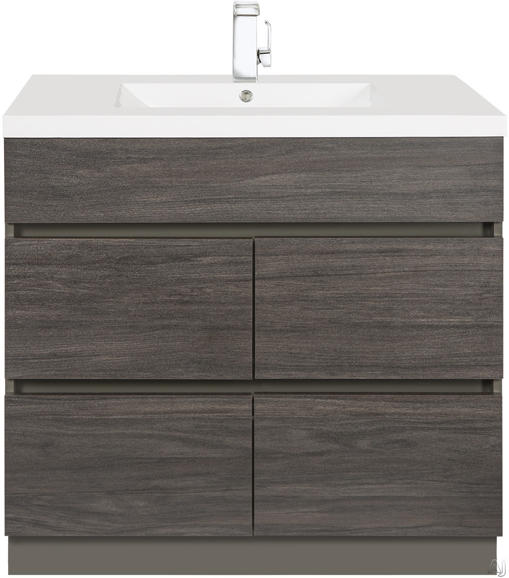 Picture of Cutler Kitchen  Bath Boardwalk BWKA36 36 Inch Single Bowl Vanity with Acrylic Top with Overflow 4 Soft Close Drawers Comfort Height and European Hardware