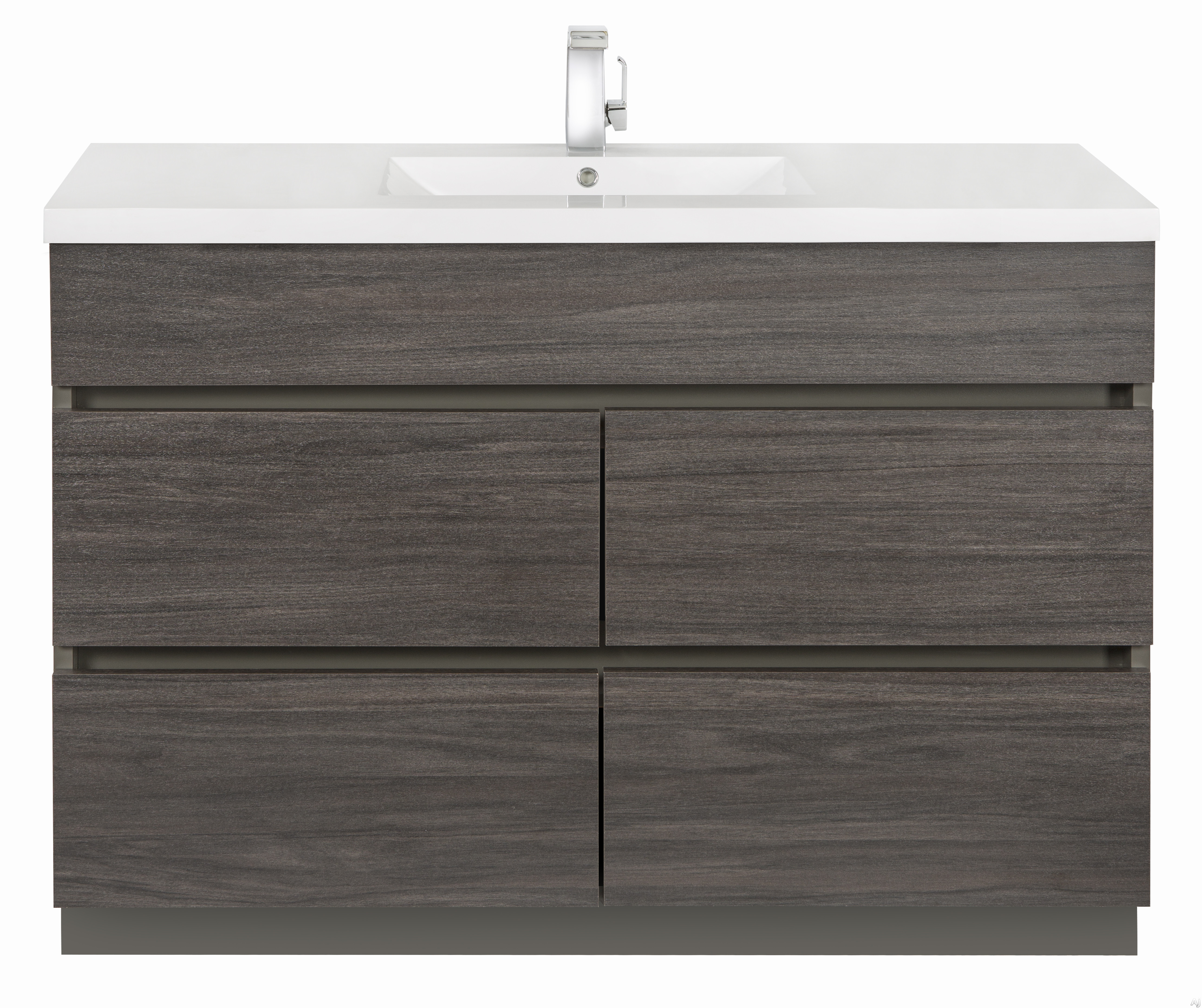 Picture of Cutler Kitchen  Bath Boardwalk BWKA48SB 48 Inch Single Bowl Vanity with Acrylic Top with Overflow 4 Soft Close Drawers Comfort Height and European Hardware