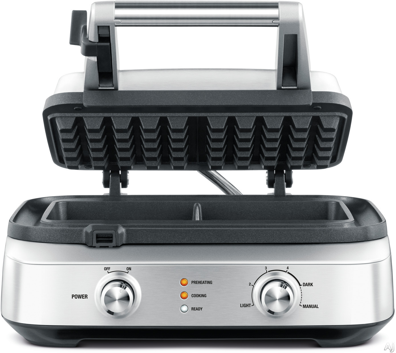 """Breville BWM602BSS 2-Slice Smart Waffleâ""""¢ with Waffle IQâ""""¢, Thermal Pro Heat, No-Mess Moat, Non-Stick, Safety Lock and 2 Waffle Capacity"""