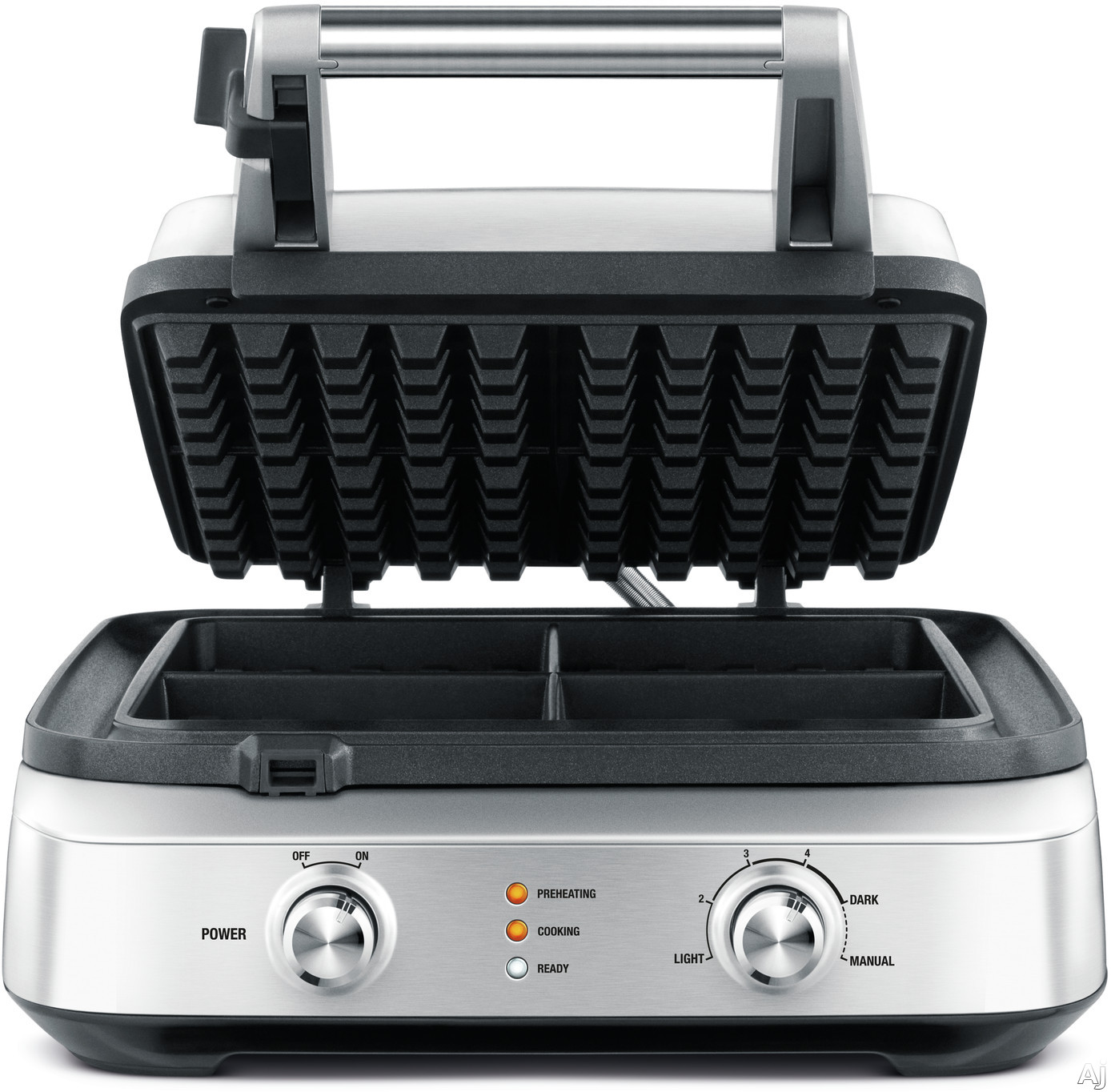 """Breville BWM604BSS 4-Slice Smart Waffleâ""""¢ with Waffle IQâ""""¢, Thermal Pro Heat, No-Mess Moat, Non-Stick, Safety Lock and 4 Waffle Capacity"""
