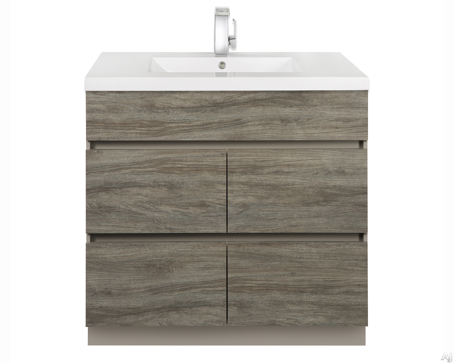 Picture of Cutler Kitchen  Bath Boardwalk BWSW36 36 Inch Single Bowl Vanity with Acrylic Top with Overflow 4 Soft Close Drawers Comfort Height and European Hardware Southwester