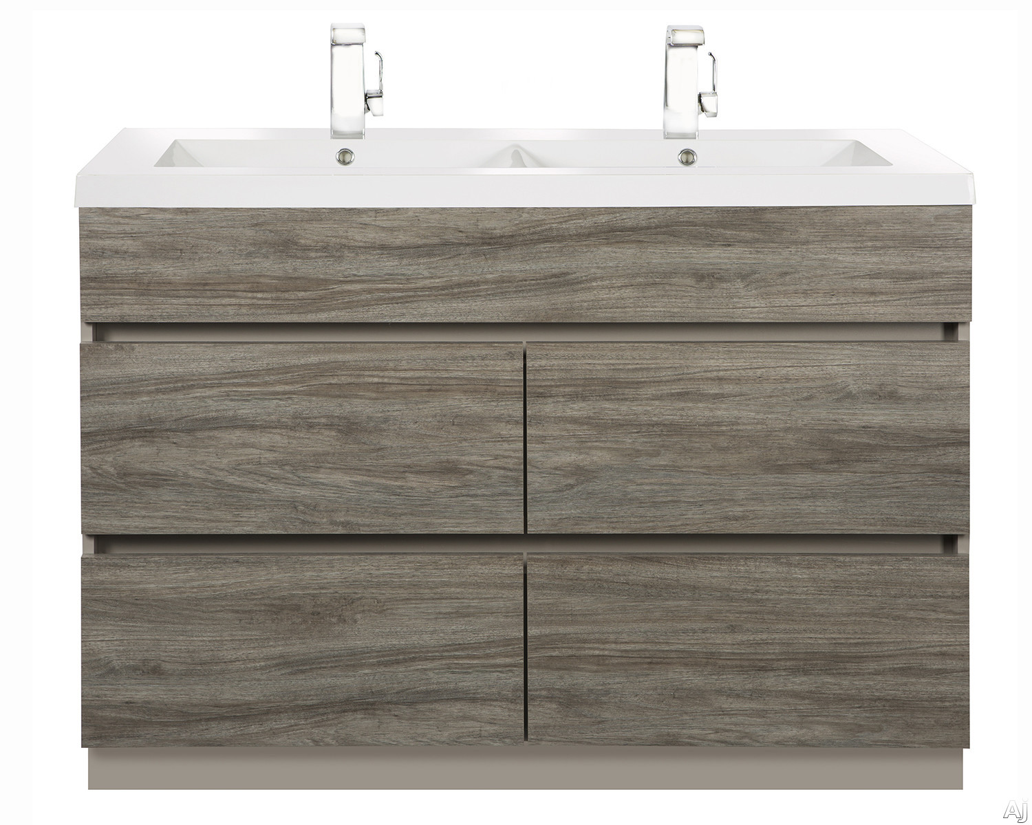 Picture of Cutler Kitchen  Bath Boardwalk BWSW48DB 48 Inch Double Bowl Vanity with Acrylic Top with Overflow 4 Soft Close Drawers Comfort Height and European Hardware Southwester