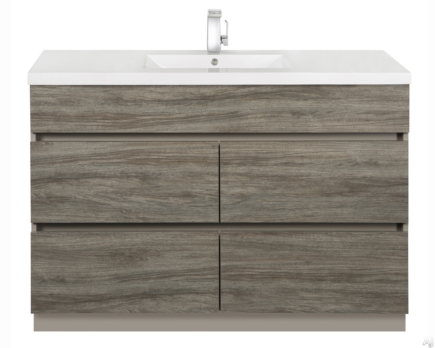 Picture of Cutler Kitchen  Bath Boardwalk BWSW48SB 48 Inch Single Bowl Vanity with Acrylic Top with Overflow 4 Soft Close Drawers Comfort Height and European Hardware Southwester