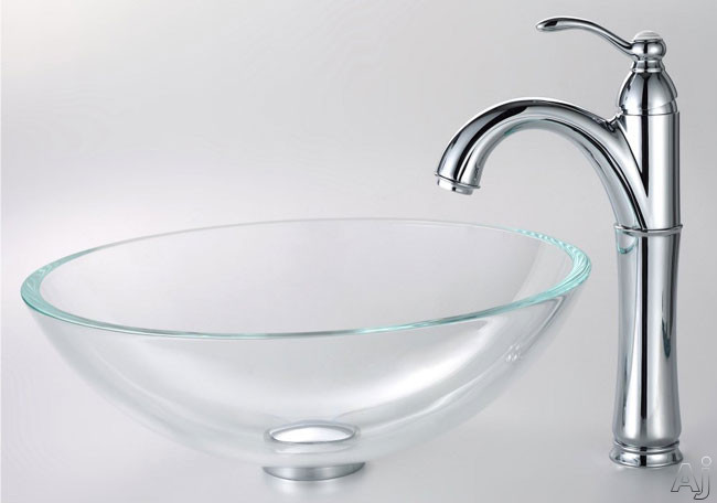 Kraus Crystal Series CGV10012MM1005 16 1/2 Inch Crystal Clear Glass Vessel Sink with Riviera Faucet, 5 1/2 Inch Bowl Depth, 5 1/2 Inch Spout Reach, Pop-up Drain, Mounting Hardware Included and ADA Compliant CGV10012MM1005