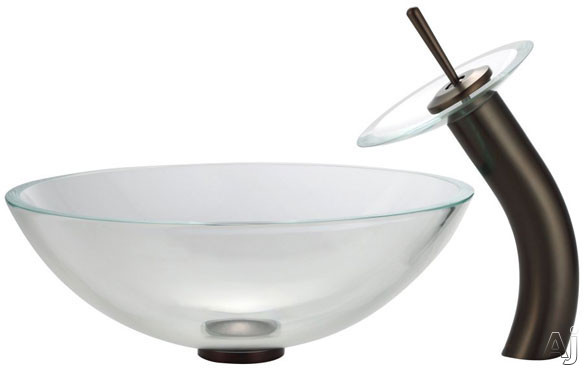 Kraus Crystal Series CGV10012MM10ORB 16 1/2 Inch Crystal Clear Glass Vessel Sink with Waterfall Faucet, 5 1/2 Inch Bowl Depth, 12mm Thick Glass, 5 1/2 Inch Spout Reach and Mounting Hardware Included: Oil Rubbed Bronze Hardware CGV10012MM10ORB