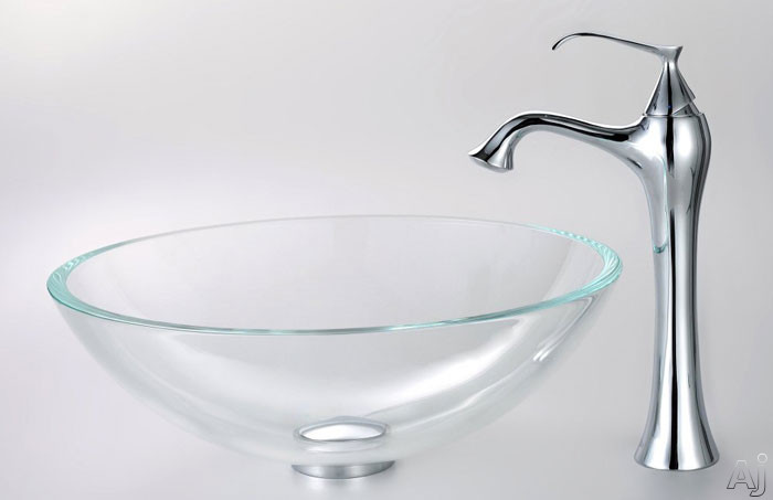 Kraus Crystal Series CGV10012MM15000 16-1/2 Inch Crystal Clear Glass Sink with Ventus Faucet, 5-1/2 Inch Bowl Depth, 12mm Glass Thickness, Pop-up Drain, Mounting Hardware Included and ADA Compliant CGV10012MM15000