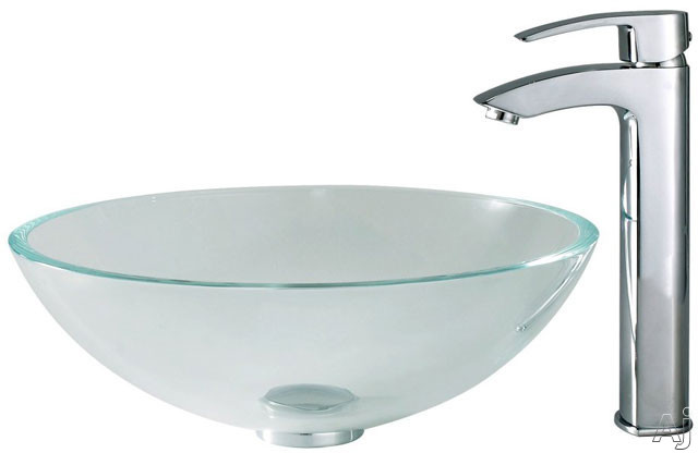 Kraus Crystal Series CGV10012MM1810CH 16-1/2 Inch Crystal Clear Glass Vessel Sink with Visio Faucet, 5-1/2 Inch Bowl Depth, 12mm Glass Thickness, Pop-up Drain and Mounting Hardware Included CGV10012MM1810CH