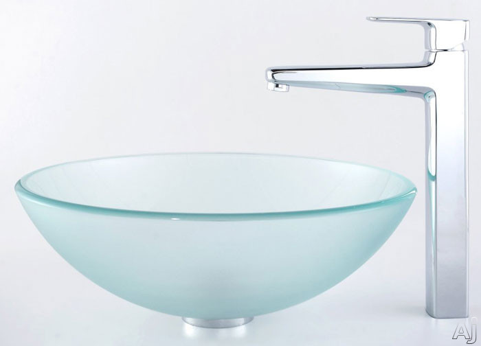 Kraus Virtus Series CGV101FR12MM15500 16-1/2 Inch Frosted Glass Vessel Sink with Virtus Faucet, 5-1/2 Inch Bowl Depth, 12mm Glass Thickness, Pop-up Drain and ADA Compliant CGV101FR12MM15500