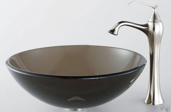 """Kraus Ventus Series CGV10312MM15000 16-1 / 2"""" Clear Brown Glass Vessel Sink with Ventus Faucet, 5-1, U.S. & Canada CGV10312MM15000"""