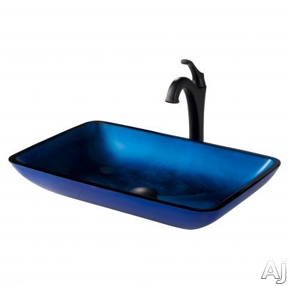 "Kraus Multi Color Series CGVR204RE1200ORB 22 Inch Rectangular Blue Glass Vessel Sink and Arloâ""¢ Faucet Combo Set with Tempered Glass Sink, Solid Brass Faucet and Easy Clean: Oil Rubbed Bronze Fau"