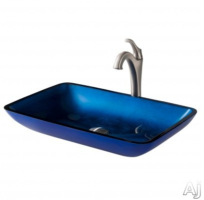 "Kraus Multi Color Series CGVR204RE1200SFS 22 Inch Rectangular Blue Glass Vessel Sink and Arloâ""¢ Faucet Combo Set with Tempered Glass Sink, Solid Brass Faucet and Easy Clean: Spot Free Brushed Nic"