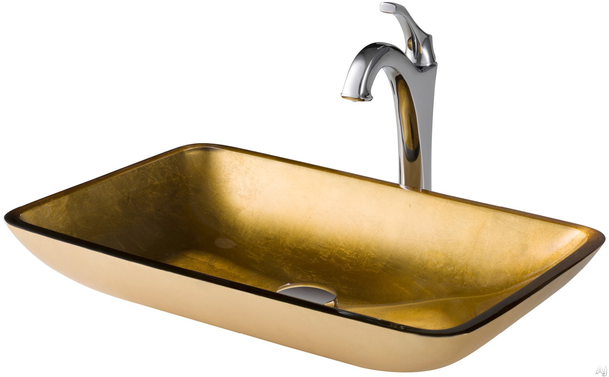 "Kraus Multi Color Series CGVR210RE1200CH 22 Inch Rectangular Gold Glass Vessel Sink and Arloâ""¢ Faucet Combo Set with Tempered Glass Sink, Solid Brass Faucet and Easy Clean: Chrome Faucet"