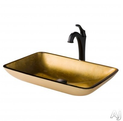 "Kraus Multi Color Series CGVR210RE1200MB 22 Inch Rectangular Gold Glass Vessel Sink and Arloâ""¢ Faucet Combo Set with Tempered Glass Sink, Solid Brass Faucet and Easy Clean: Matte Black Faucet"