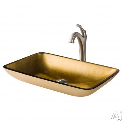 "Kraus Multi Color Series CGVR210RE1200SFS 22 Inch Rectangular Gold Glass Vessel Sink and Arloâ""¢ Faucet Combo Set with Tempered Glass Sink, Solid Brass Faucet and Easy Clean: Spot Free Brushed Nic"