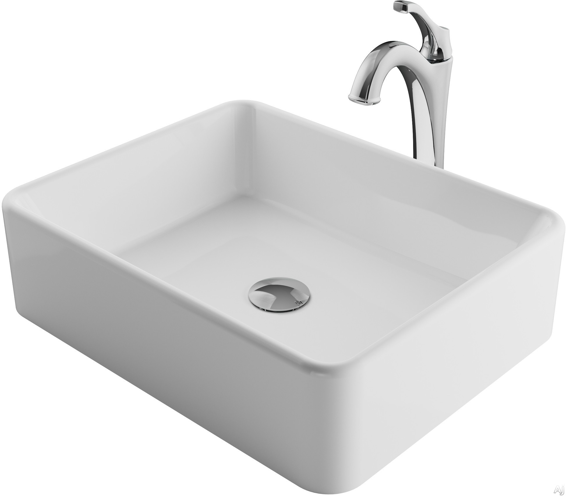 "Kraus Ceramic Series CKCV1211200CH 19 Inch Rectangular Porcelain Ceramic Vessel Sink and Arloâ""¢ Faucet Combo Set with Ceramic Vessel Sink, Solid Brass Faucet and Easy Clean: Chrome Faucet"