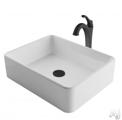 "Kraus Ceramic Series CKCV1211200MB 19 Inch Rectangular Porcelain Ceramic Vessel Sink and Arloâ""¢ Faucet Combo Set with Ceramic Vessel Sink, Solid Brass Faucet and Easy Clean: Matte Black Faucet"